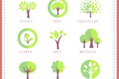 9款树木图标设计矢量素材