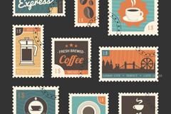 9款复古咖啡邮票设计矢量素材