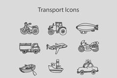 12款手绘交通工具图标矢量素材