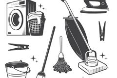 7款家庭清洁工具设计矢量素材