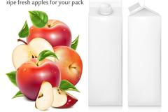 红苹果与果汁包装设计矢量素材
