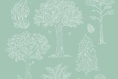 7款白色手绘树木设计矢量素材
