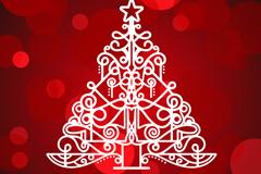 创意白色圣诞树背景矢量素材