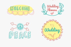 6款彩色手绘婚礼标签矢量素材