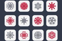 16款彩色方形雪花图标矢量素材