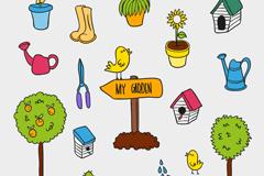 彩色花园园艺工具设计矢量素材