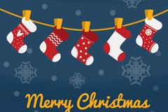 卡通圣诞袜吊饰背景矢量素材