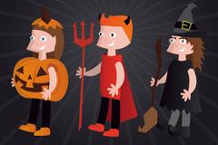 3款卡通万圣节装扮人物设计矢量素材
