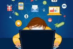 社交网络人物背景矢量素材