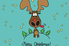 卡通圣诞麋鹿背景矢量素材
