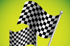 F1赛车黑白方格旗背景矢量素材