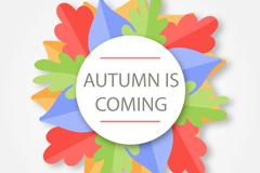 彩色秋叶圆形标签背景矢量素材