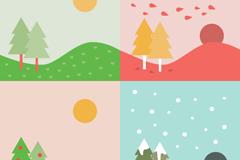 卡通四季树木背景矢量素材