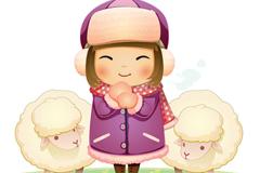 卡通小女孩与绵羊背景矢量素材