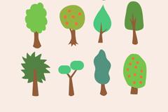 12款彩色树木设计矢量素材
