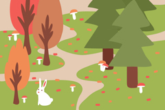 卡通森林背景矢量素材