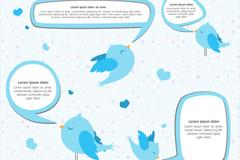 卡通蓝色鸟语言气泡矢量素材