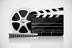 电影胶带与场记板矢量素材