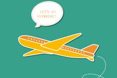 卡通飞行客机背景矢量素材