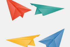 4款彩色纸飞机矢量素材