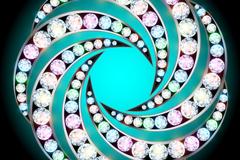 闪亮钻石装饰螺旋形背景矢量素材