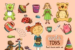 21款彩绘女孩玩具设计矢量素材