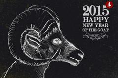 2015年粉笔绘山羊背景矢量素材