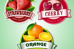 3款精美水果标签矢量素材
