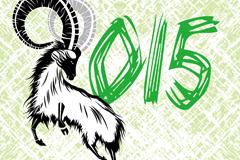 2015手绘山羊新年背景矢量素材