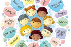 卡通儿童英语口语对话气泡背景矢