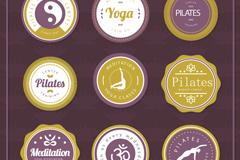 9款圆形瑜伽元素标签矢量素材