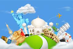 创意卡通环球旅行背景矢量素材