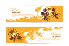 精美蜜蜂和蜂蜜元素banner矢量素材