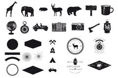 非洲探险元素图标矢量素材