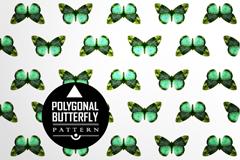 精致绿色蝴蝶无缝背景矢量素材