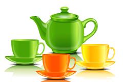 精美彩色茶具设计矢量素材