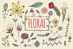 彩绘花朵背景矢量素材