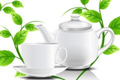 白色茶具与绿叶矢量素材