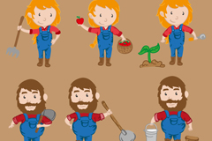 6款卡通农场人物设计矢量素材