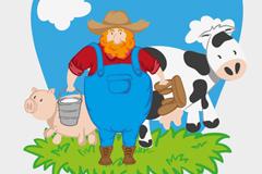 卡通大胡子农夫背景矢量素材