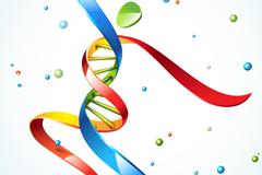 彩色动感DNA丝带人矢量素材