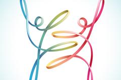 彩色舞蹈丝带人矢量素材