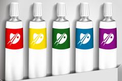 彩色绘画颜料设计矢量素材