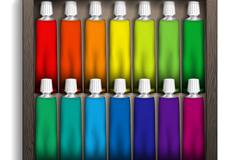 14色水彩颜料矢量素材