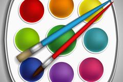 精美调色板与画笔矢量素材