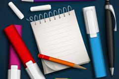 标记笔与记事本设计矢量素材