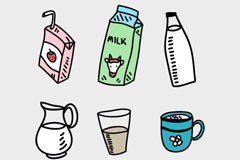 6款卡通牛奶元素设计矢量素材