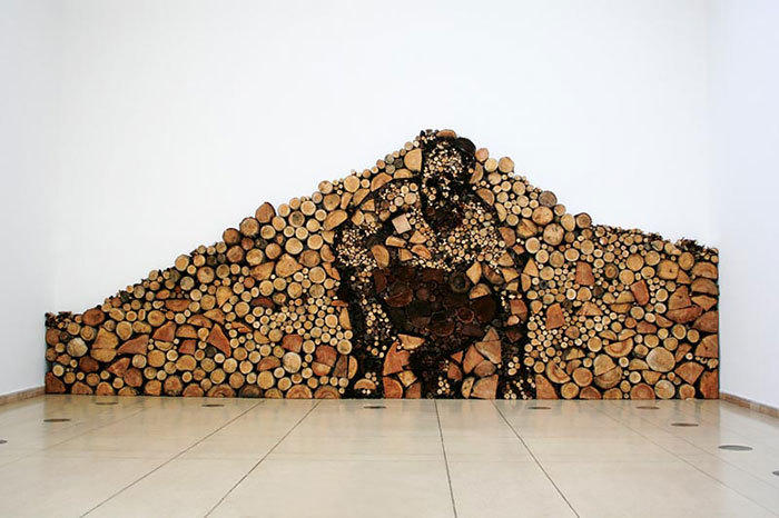 堆木材艺术