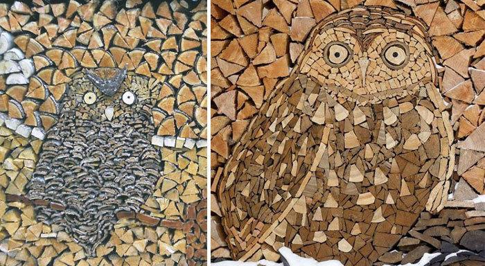 木材图案的猫头鹰
