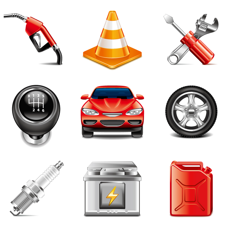 9款汽车与维修设备图标矢量素材高清图片